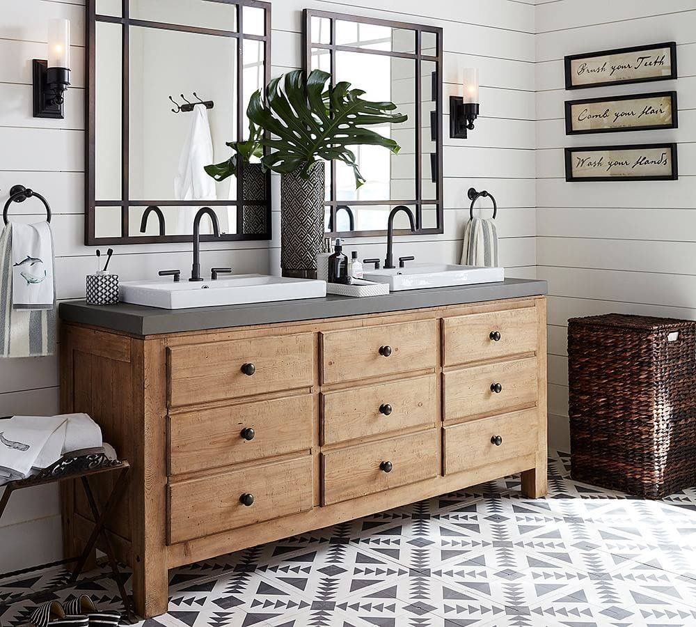 I Love The Natural Wood With Black And White Floor Bathrooms Remodel Home Bathroom Decor