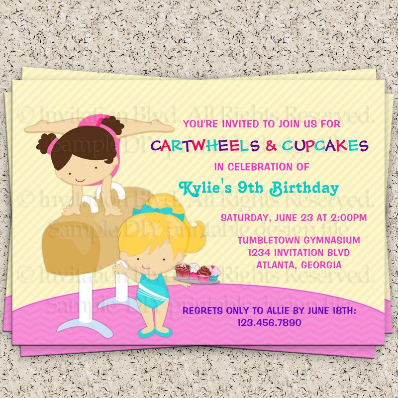 4th Of July Invitation Birthday Party Wording Kids Gymnastics Printable DIY