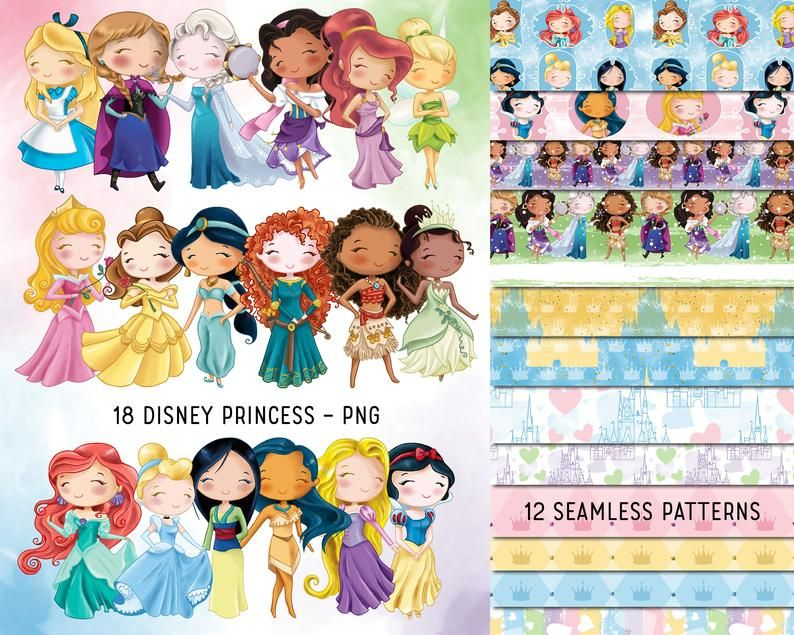 Disney Princess Bundle Princess Clipart And Seamless Paper Image 0 Seamless Paper Print Planner Disney Word