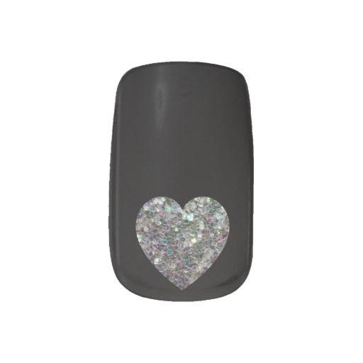 Sparkly colourful silver mosaic Heart Black Nails Minx® Nail Art by #PLdesign #SparklesHeart #SparklesGift