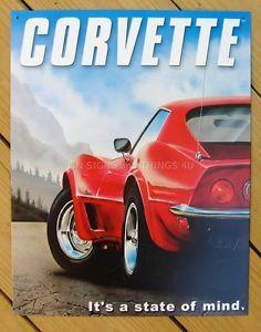 Red Corvette TIN SIGN metal poster vtg chevrolet ad wall art garage decor #891