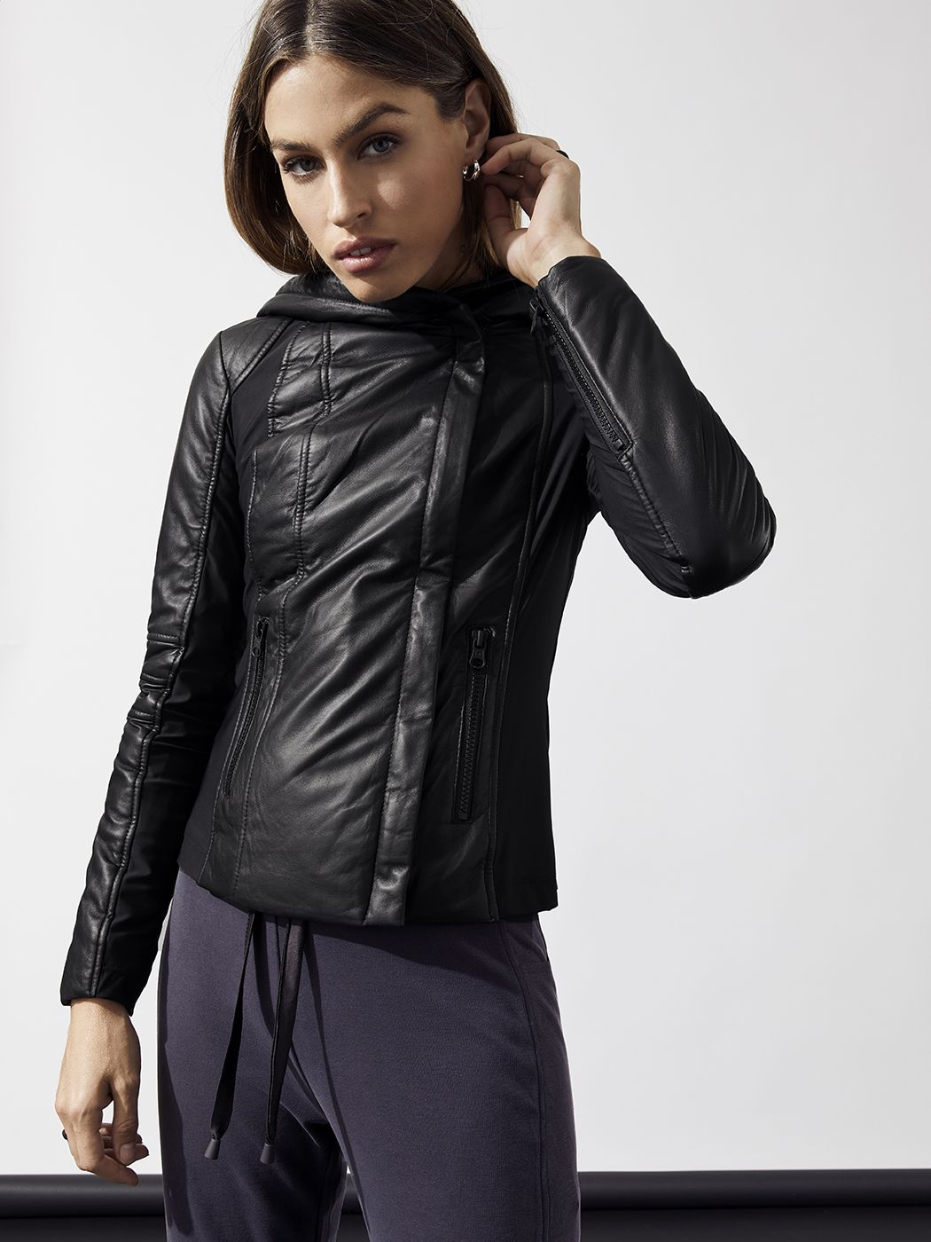Hooded Leather Puffer Jacket In Black By Blanc Noir From Carbon38 Outerwear Shop Cold Weather Jackets Activewear Fashion [ 1400 x 1050 Pixel ]
