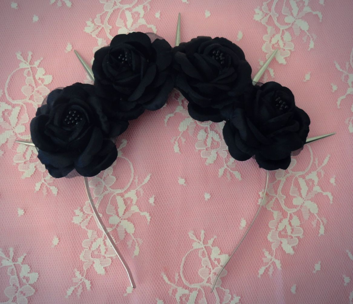 Black Dahlia Pastel Goth Black Roses And Silver Spikes Flower Crown