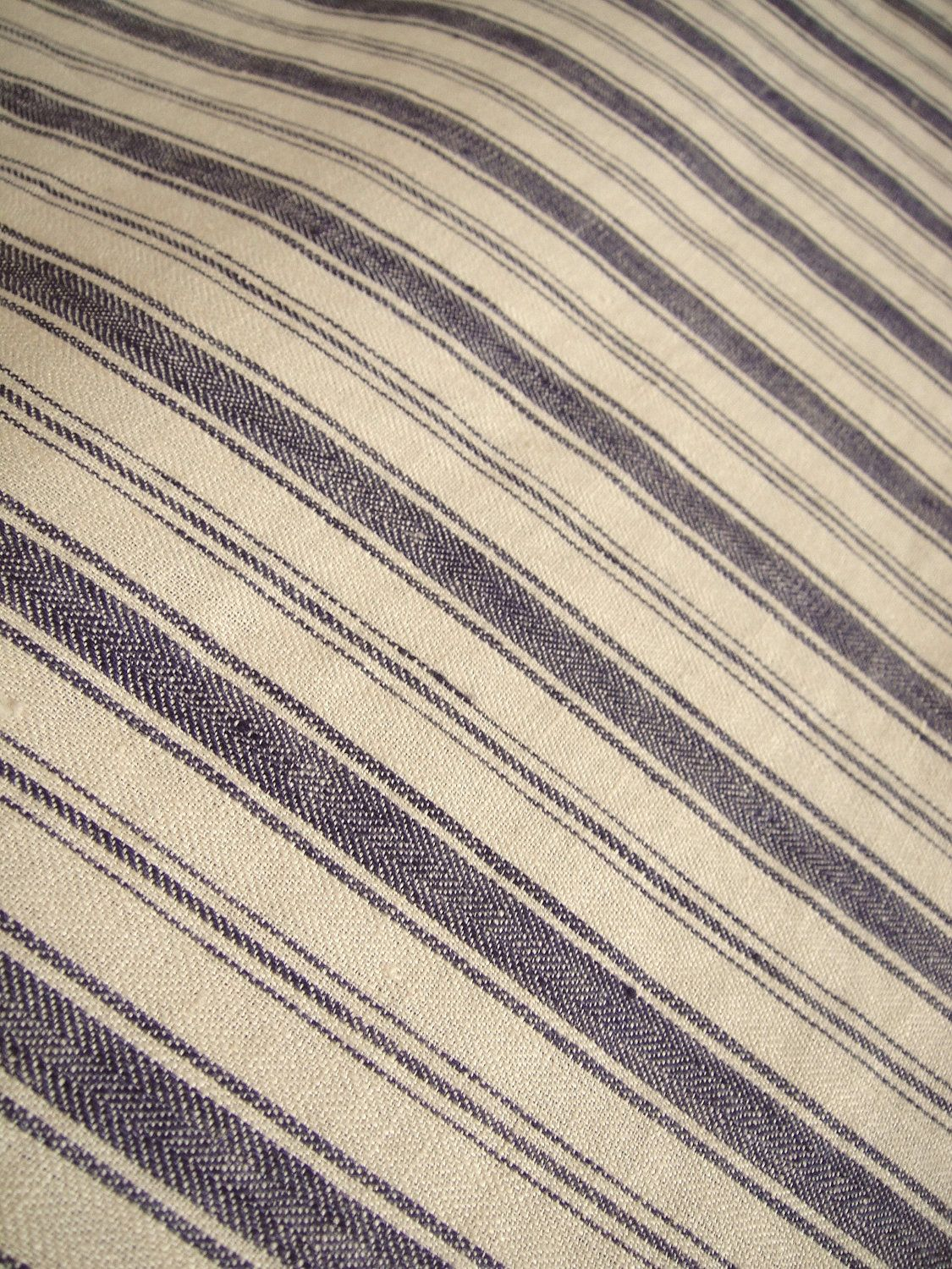 Meterage French Belgian Linen Ticking Fabric By Libeco