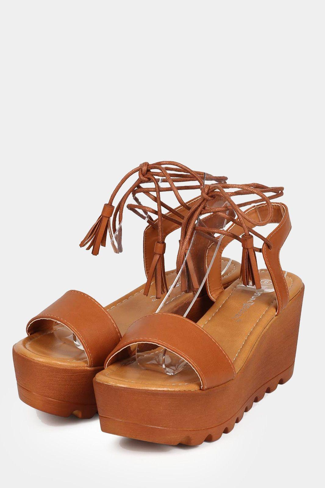 a455c1bbdd7 Wrap Wooden Platform Wedge Sandals - Tan - Bare Feet Shoes - 3 ...