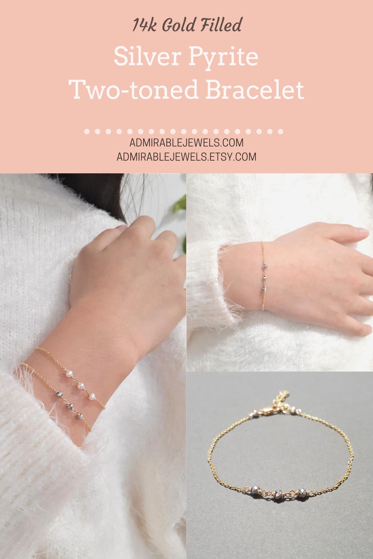 Photo of Dainty Silver Pyrite Bracelet / Two Tone Bracelet