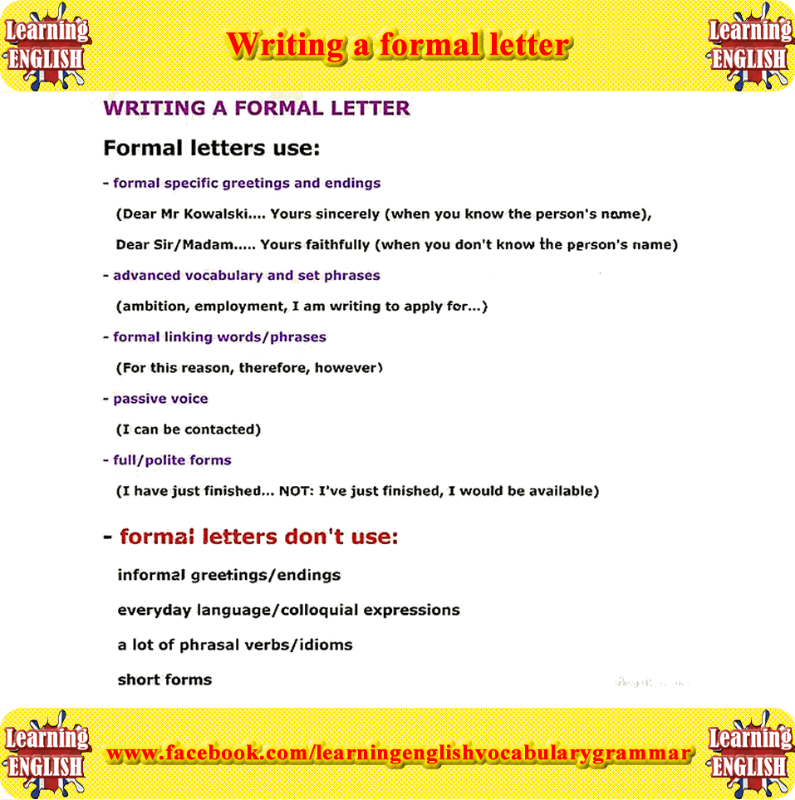 Writinga Formal Letter  Learning English  Learning English For