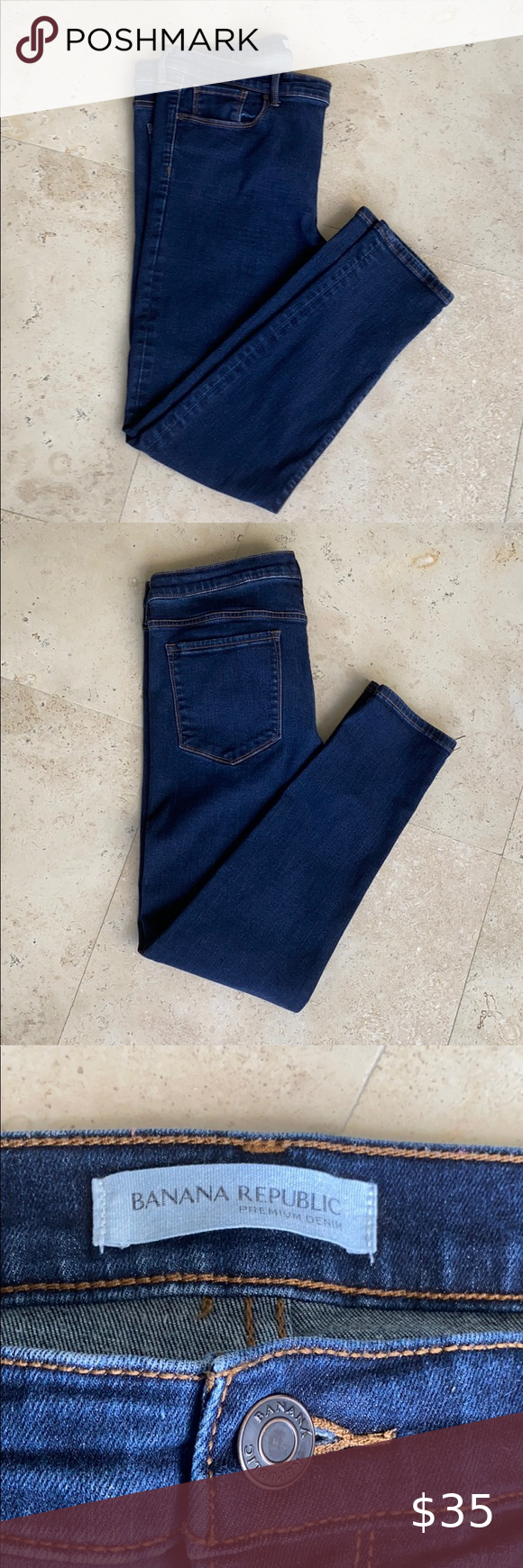 Banana Republic Skinny Dark Blue Jeans 33s Dark Blue Skinny Jeans Dark Blue Jeans Premium Denim Jeans