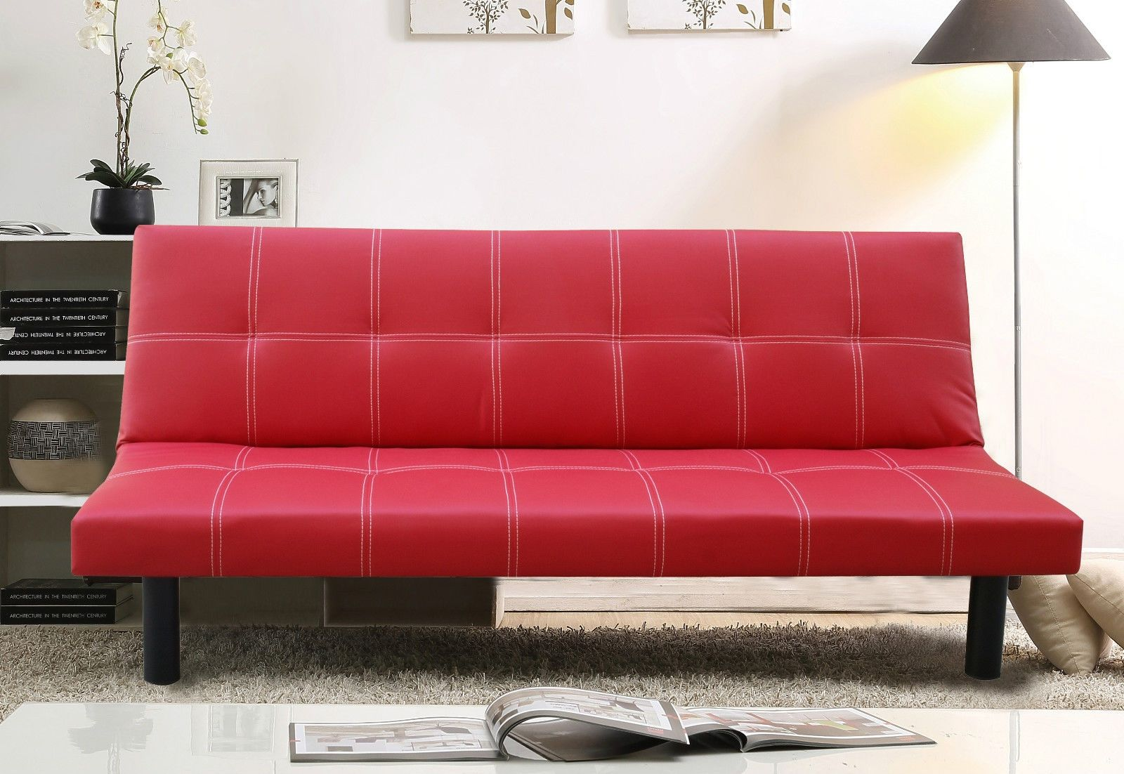 Red Faux Leather Sofa Beds