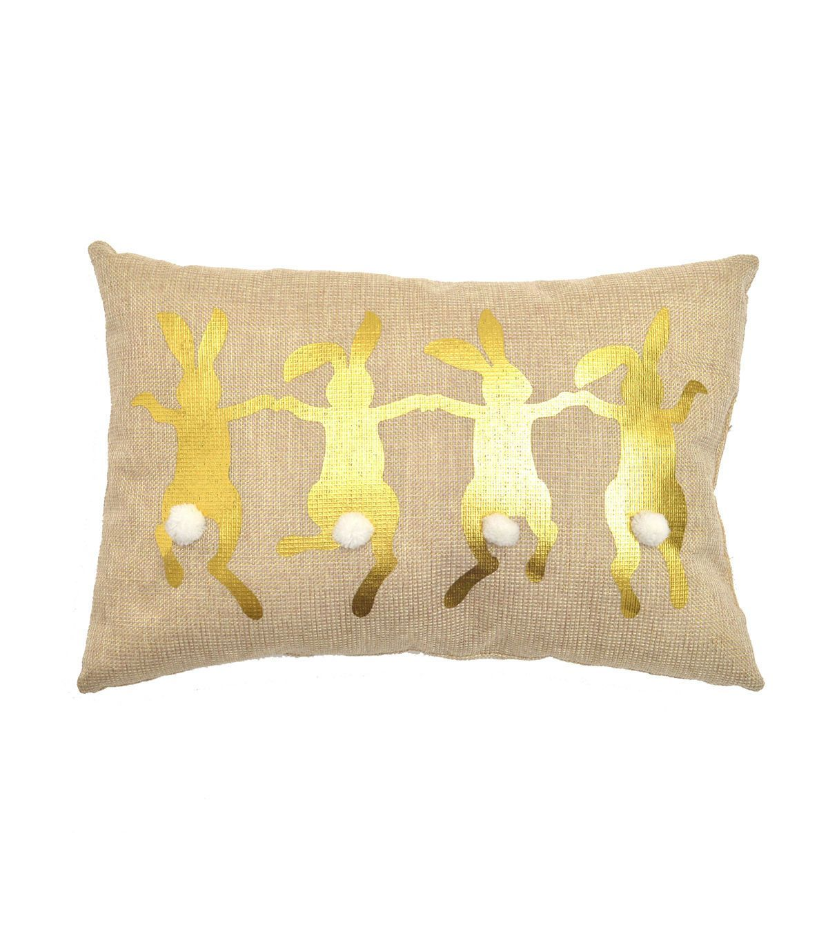 Easter Burlap Pillow Skipping Bunnies Gold Easterbunny Easter