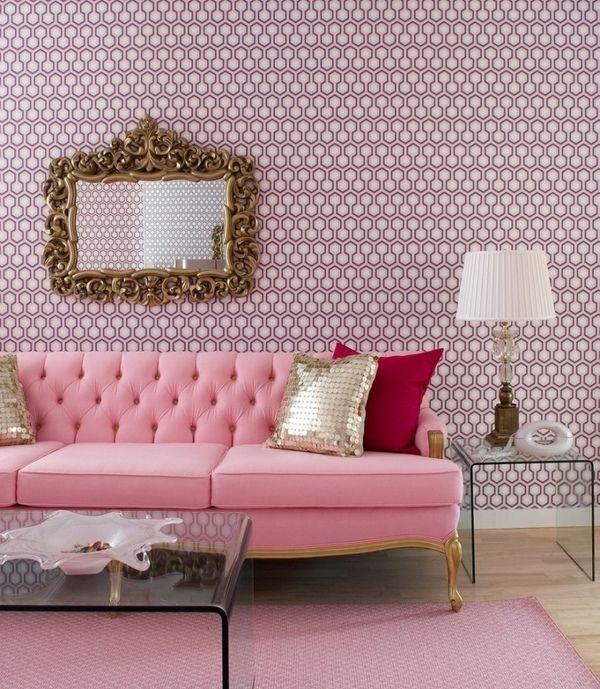pink-living-room-justin | http://1decor.net/ | Pinterest | Living ...