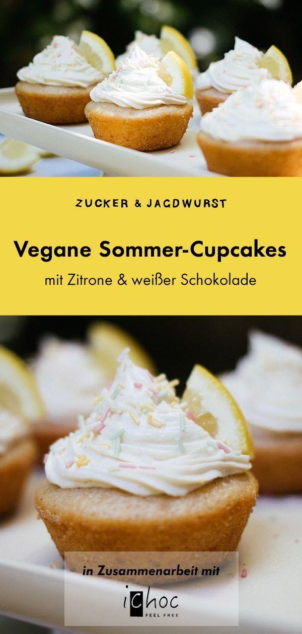 Vegane Zitronen-Cupcakes mit Weißer-Schokoladen-Buttercreme  - Zucker&Jagdwurst #lemonfrosting