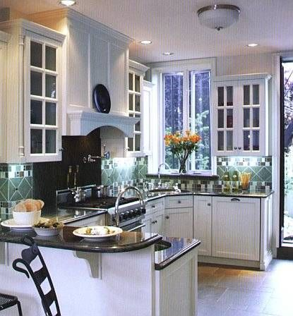 Example Of White Kitchens Cabinets With Dark Granite Counter