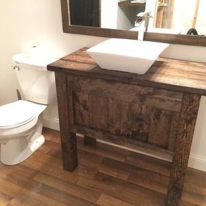 rustic farmhouse bathroom vanity #diy #ryobination | bathrooms