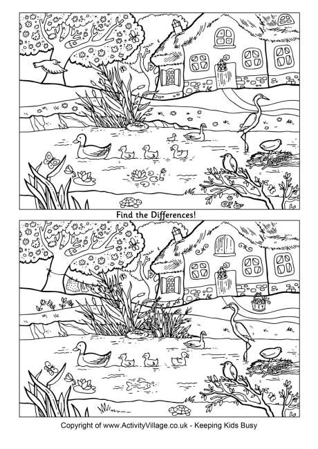 Find the differences  spring pond  Mushy Printables  Pinterest