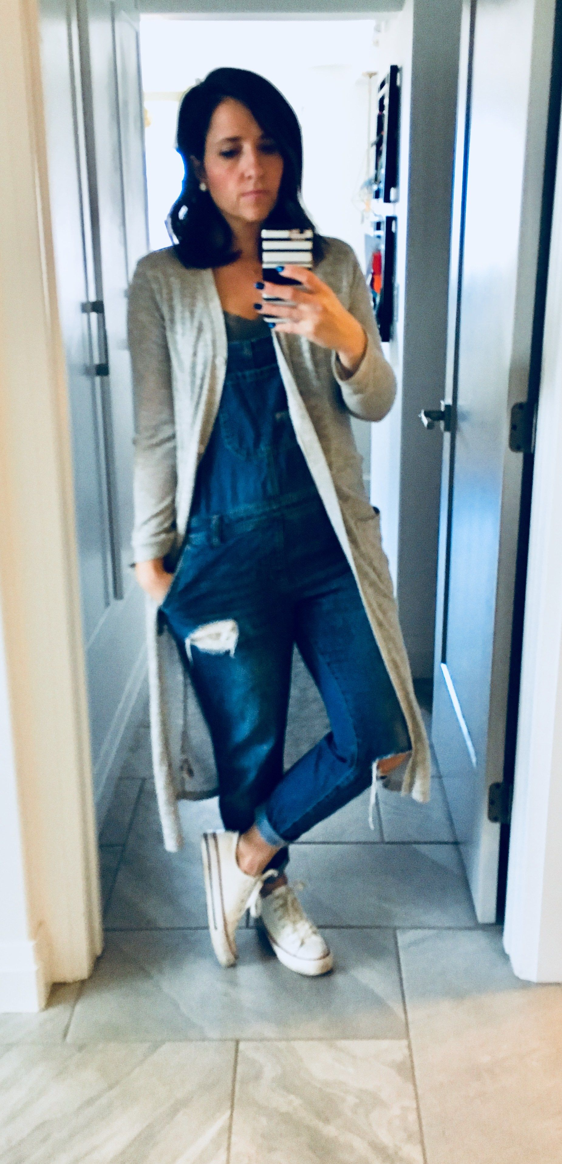 55a2ba5ed2 denim overall outfit ideas with long cardigans- Andrea   Angie ...