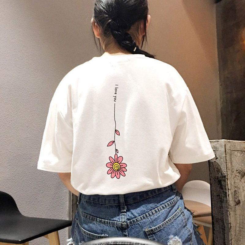 11.78US $ |Summer Casual women super cute behind the flowers Moon stars print short sleeved round neck collar loose cotton T shirt girls|cotton t-shirt|t-shirt girlshort sleeve - AliExpress