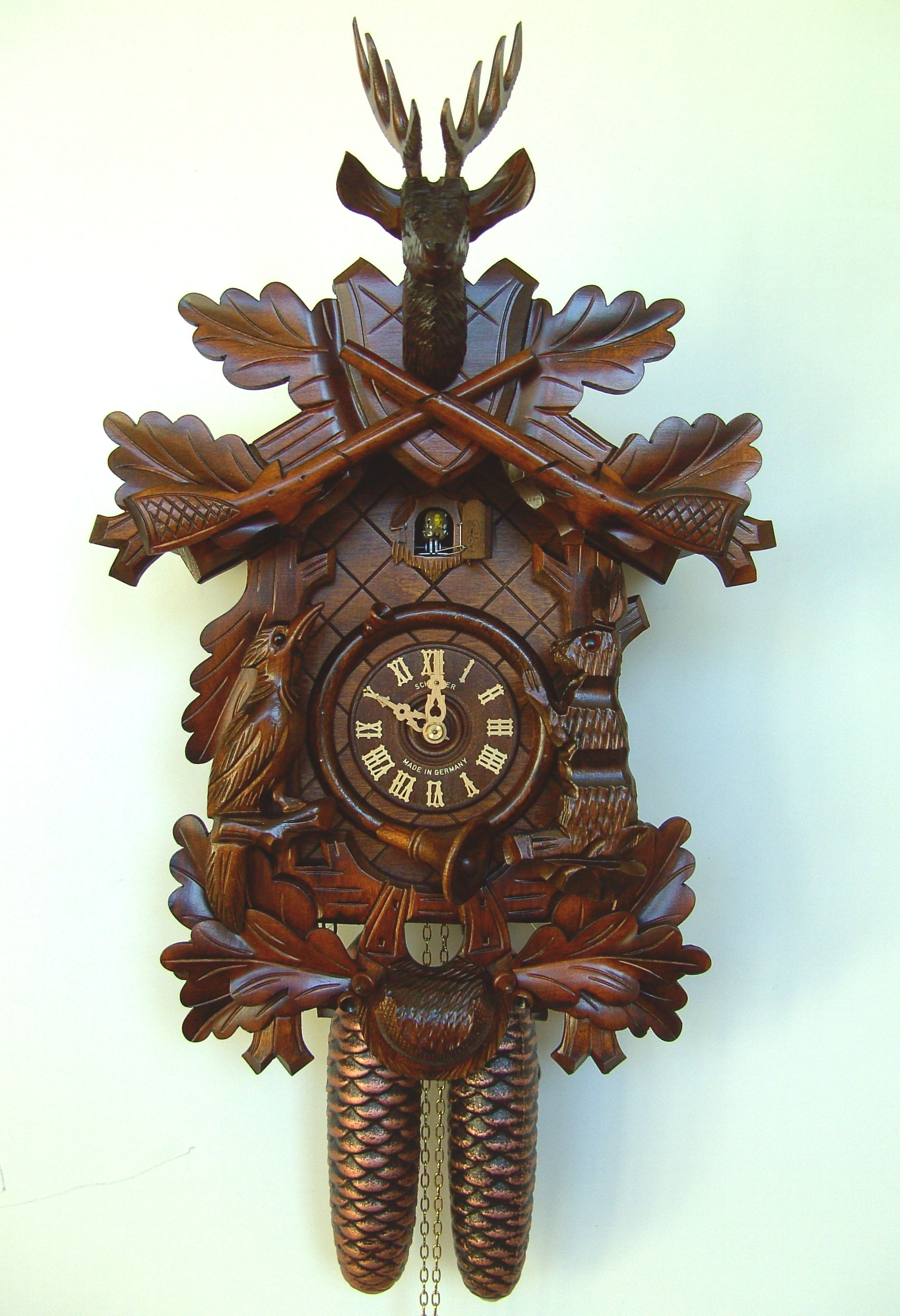 Anton schneider 8 day 1 wind hunting deer hare bird 8t 215 9 cuckoo clocks anton and - Wooden cuckoo clocks ...