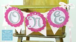 "Pink Princess - ""ONE"" Highchair Banner Pretty in Pink Princess - Pretty in Pink Crowns Princess - Personalized Bunting Banner Custom Pretty in Pink Princess First Birthday Party Decorations ideas Pink, Hot Pink, Fuchsia, White, Real Silver Glitter, Chevron, Damask, Chic, Modern"
