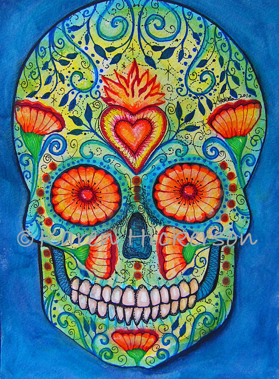 e471938ab Day of the Dead SUGAR SKULL Folk Art Primitive Modern Wicked Cool Abstract  Print of Painting Karen H