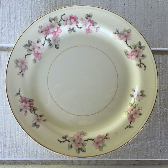 Homer Laughlin Apple Blossom dinner plates Midcentury china 1950\u0027s china pattern Vintage china pink floral plates wedding table settings & Homer Laughlin Apple Blossom dinner plates Midcentury china 1950\u0027s ...