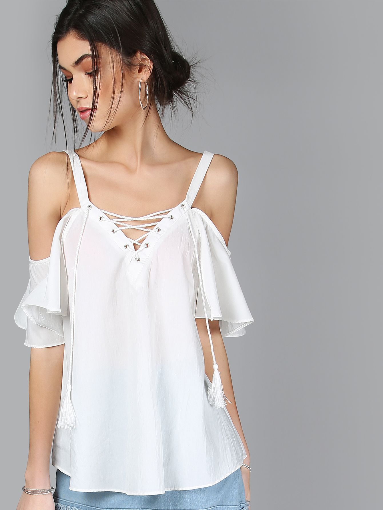 8e5afd12386730 Online shopping for Lace Up Tassel Cold Shoulder Flow Top WHITE from a  great selection of women's fashion clothing & more at MakeMeChic.COM.