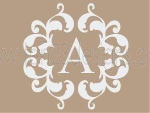 Personalized Damask Monogram Initial Wall Decal Family History - Monogram initials wall decals