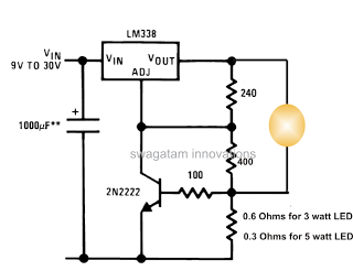 3 Vatios 5 Watt Led Dc To Dc Constant Current Driver Circuit Constant Current Led Circuit Diagram