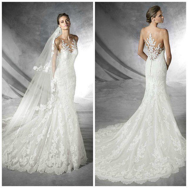 Pronovias Placia Size 10 Lace Sheer Illusion neckline & back For ...