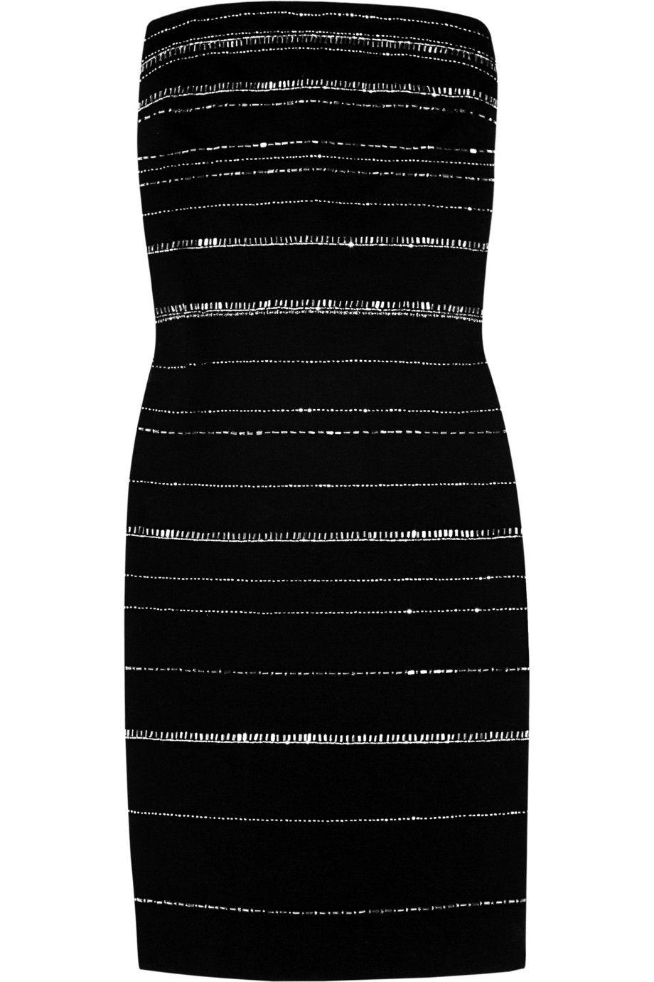 Bead-embellished cotton-blend mini dress by DKNY