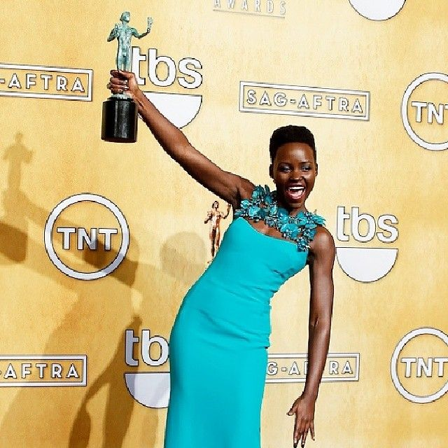 Congrats to Lupita Nyong'o for her Screen Actors Guild Award! Love her in this dress: