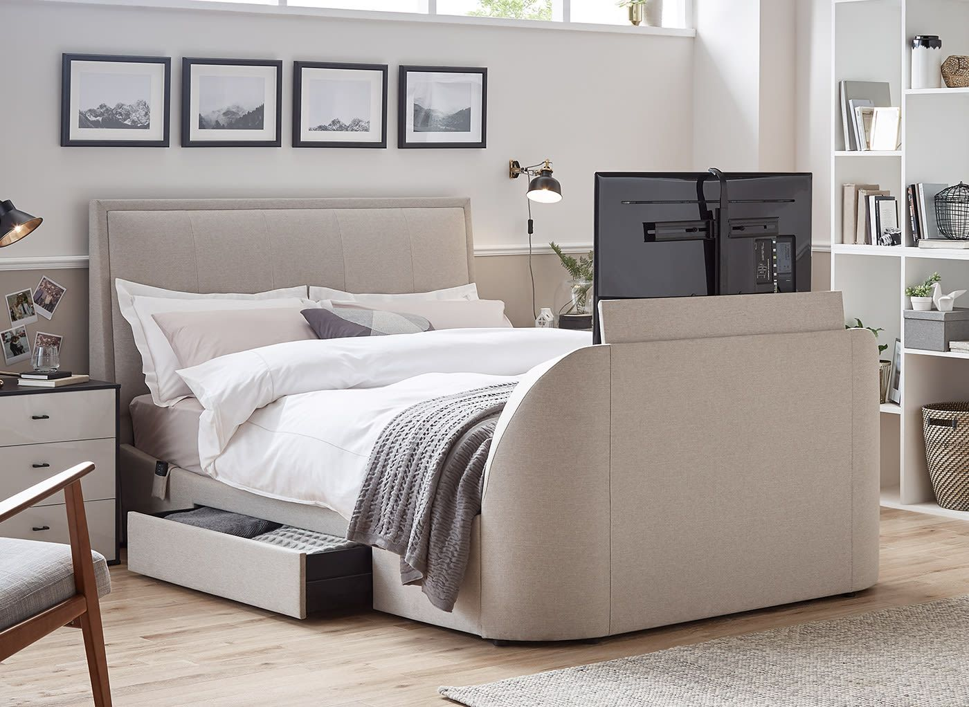 Alexander Oatmeal Fabric Tv Sound Bed Frame 4 6 Double Beige
