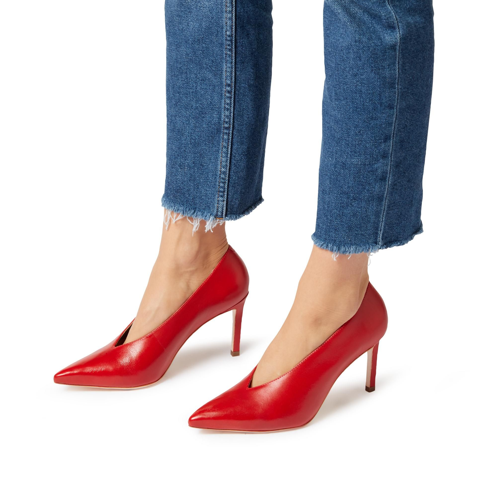 200b3a5c93c AMIGOS - V-Cut High Vamp Pointed Toe Court Shoe | Zapatos | Heels ...