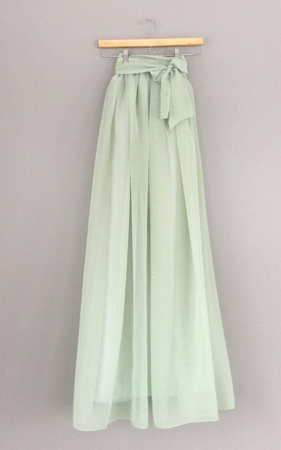Farbe Salbei salbei grün chiffon rock jeder länge und farbe bridesmaid