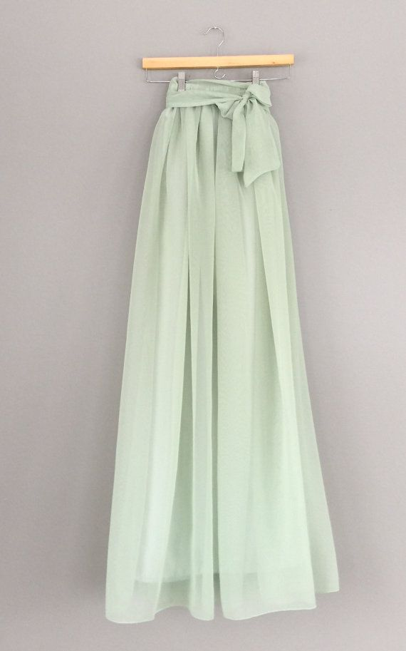 Salbei Farbe green chiffon skirt any length and color bridesmaid skirt
