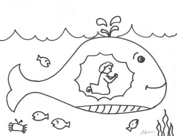 Jonah praying in the whale coloring print out. More