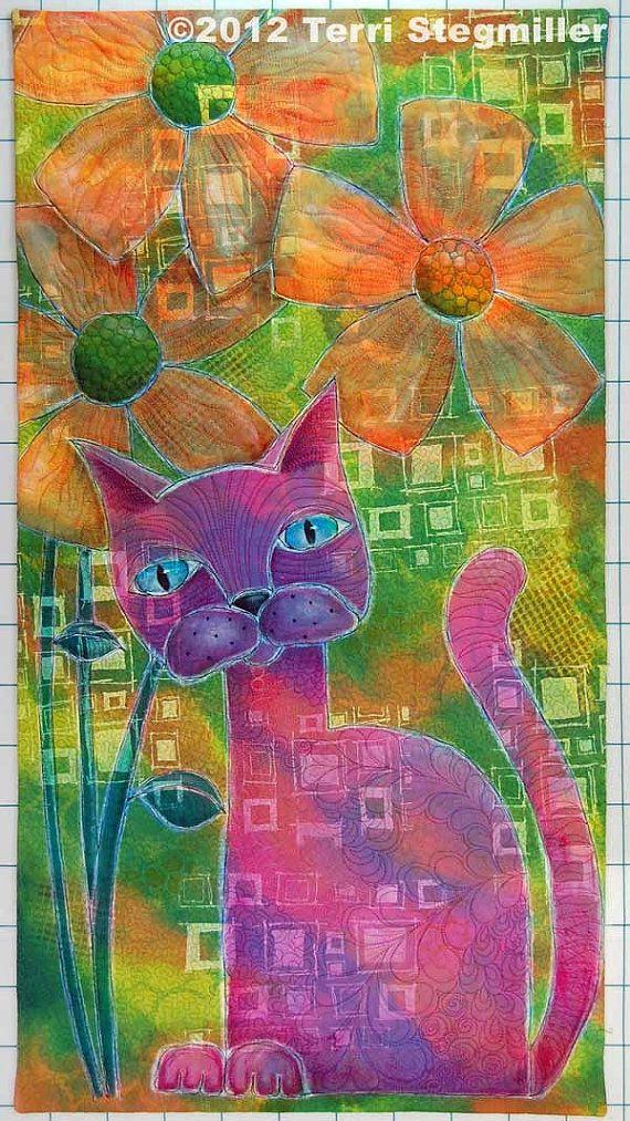 Purple Cat - Art Quilt