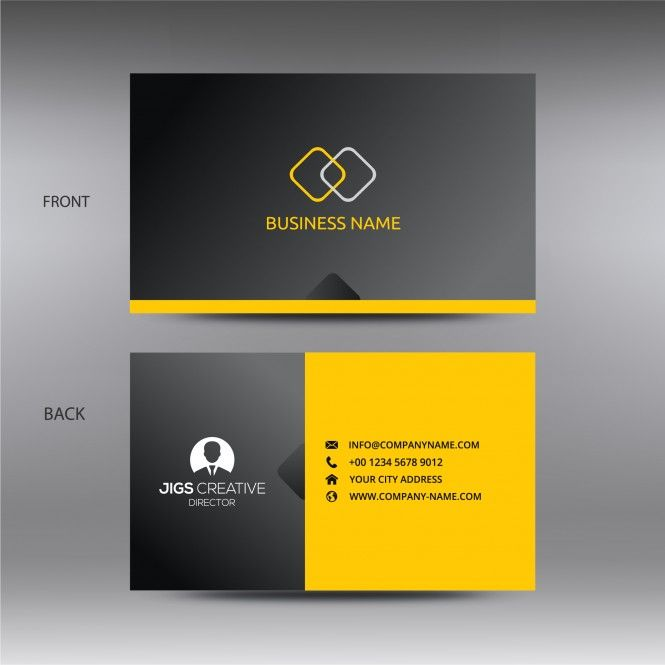 Black And Yellow Business Card Template Vector Deign With Images