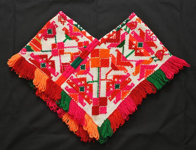 21aa52130eeb5 Huastec Quechquemitl Tenek. - This closed shoulder cape (quechquemitl in  nahuatl) comes from the Huasteca region of San Luis Potosi state in Mexico.