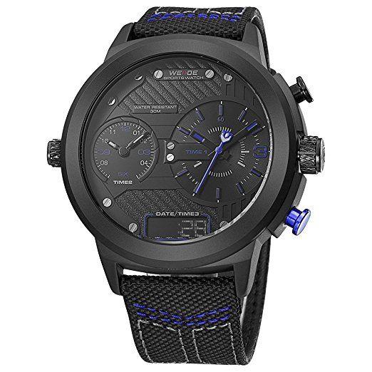 9039ac277f05 WEIDE hombres de moda reloj de pulsera de cuarzo de deporte Militar  analógico Digital de tamaño