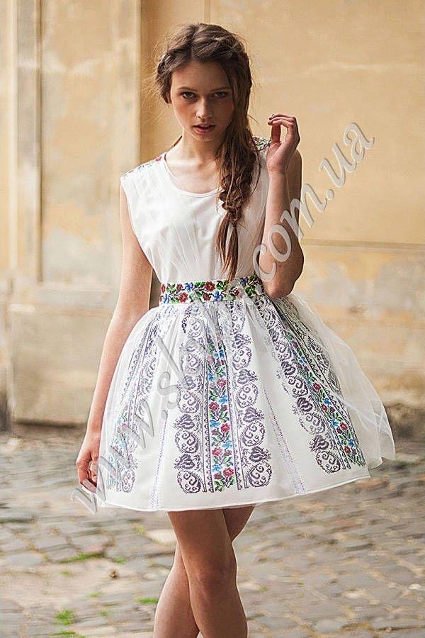Жіноча сукня СК6335 з фатіном та уквітчаними вставками - Товари -  Українська вишиванка від ТМ Скиба - Укрбізнес  499181791f60a
