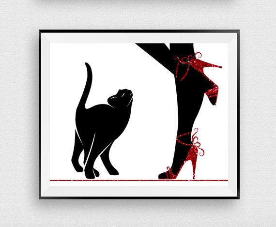Fashion Wall Decor fashion wall decor, woman with cat, red glitter shoes, black cat