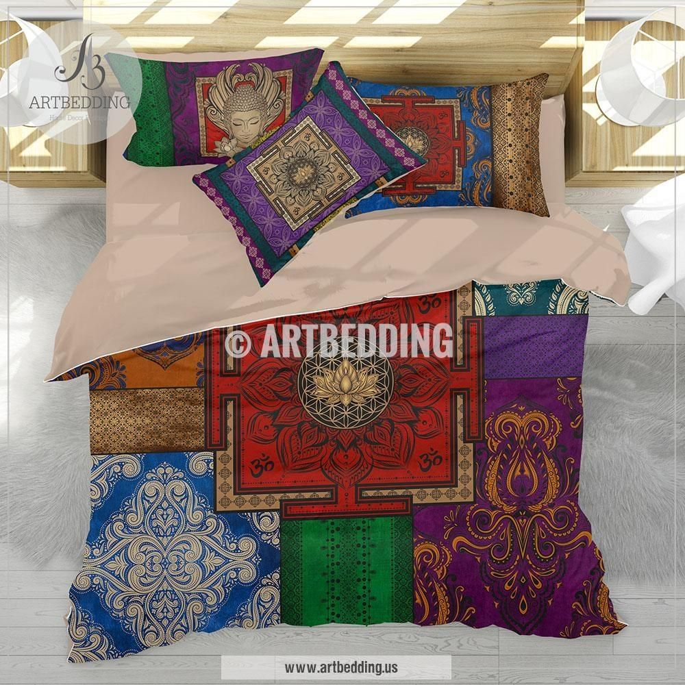 art dark artbedding bedroom set pin bedding teal bohemian hippy hippie duvet gold boho mandala cover and sets bed