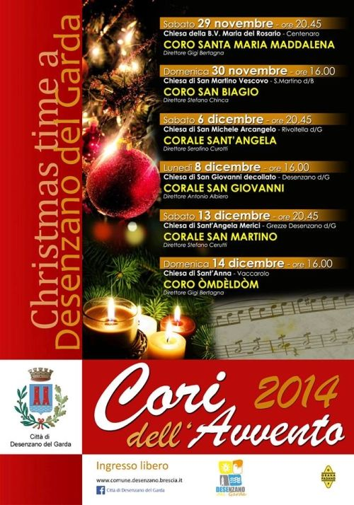 Da sabato 29 Novembre a domenica 14 Dicembre 2014, appuntamento a Desenzano del Garda con i Cori dell'Avvento @gardaconcierge