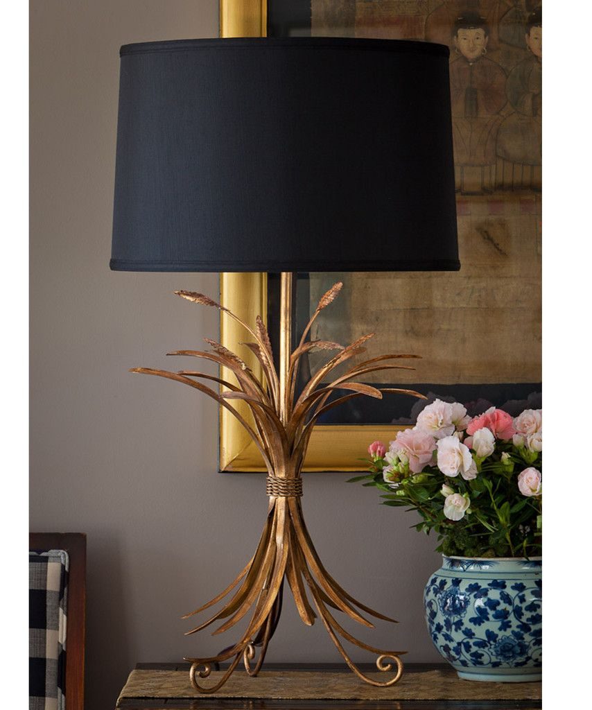 High Street Market Gold Wheat Sheaf Table Lamp Black Lampshade Buffet Lamps Gold Lamp