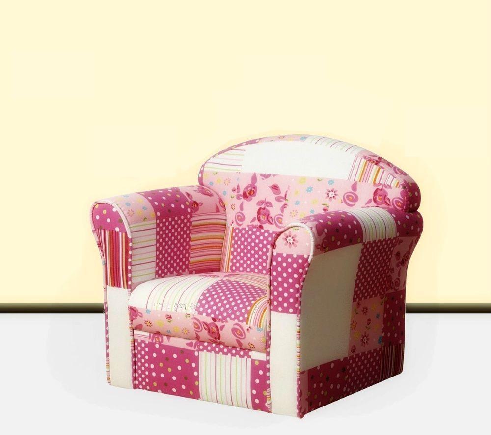 Childrens Patchwork Armchair Kids Mini Sofa Girls Bedroom Furniture