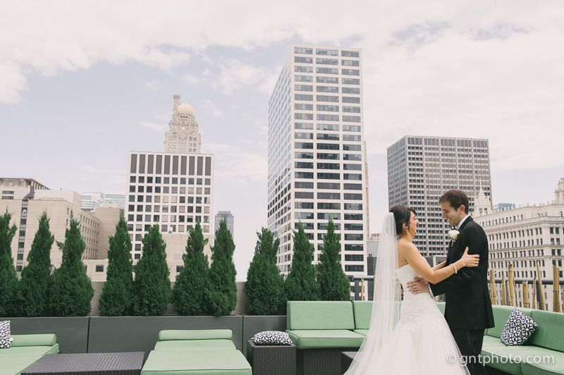 First look on the rooftop summer wedding