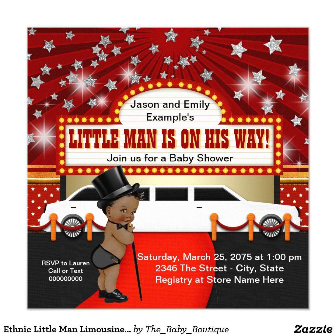 Ethnic Little Man Limousine Movie Star Baby Shower Invitation ...