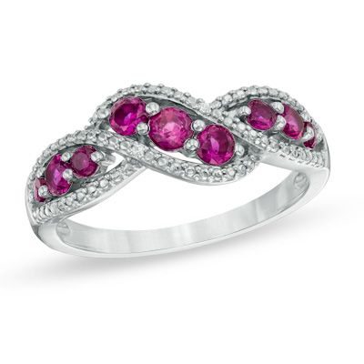 Zales Lab-Created Ruby Five Stone Anniversary Band in 10K White Gold zCaKhj