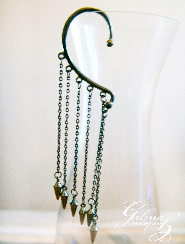Black Ear Cuff Pyramid Earring Funky Earrings Futuristic Fashion Jewellery 7 50 Via Etsy